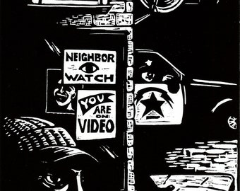 Surveillance - original linoleum block print