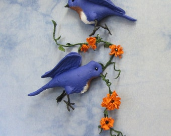 PDF Pattern, Primitive Bluebird, Wall Hanging, Primitive Bird, Sewing Pattern, Primitive Flowers