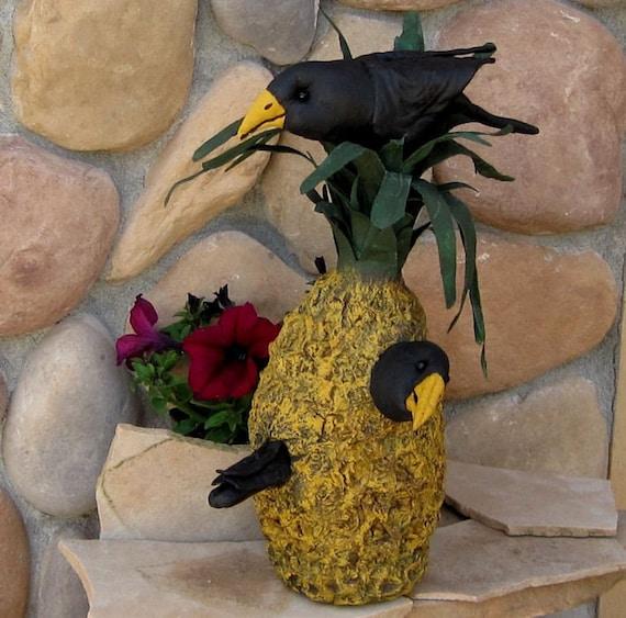 Primitive Crows,  Pineapple, Soft sculpture, Paper Mache,