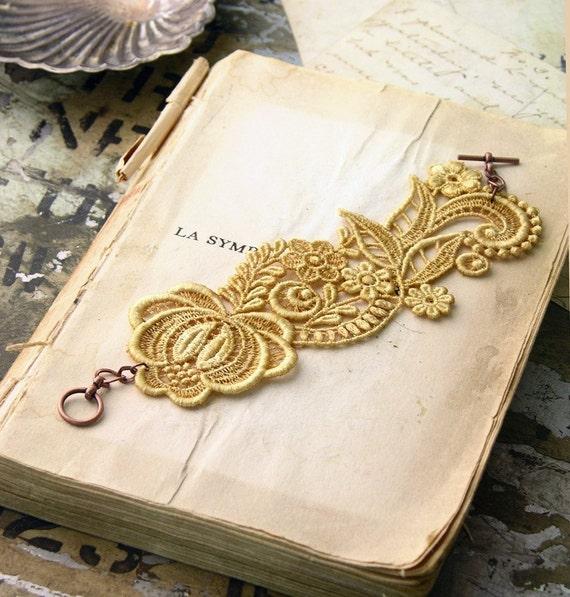 lace bracelet cuff  // RHEA // pale yellow saffron / wedding cuff / bridesmaid lace jewelry / flower/ botanical girly boho