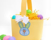 Fabric Easter Basket candy bucket Bunny Applique Yellow polka dot boys or girls