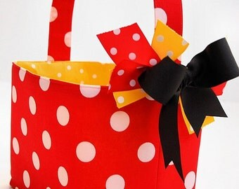 Halloween Red Polka Dot Mouse basket candy bucket basket
