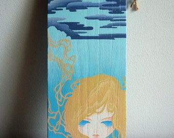 Original Wood Painting, Pop Surrealism, Blue Clouds, Art Nouveau, Small Wall Decor, Pop Art, Acrylic Painting, Wood Sign, Wall Art, 12x30cm