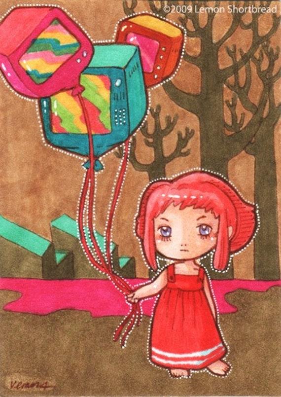 Original ACEO Art Pop Surrealism Illustration Cute Psychedelic TV Balloons