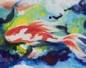 ACEO Original Painting - Mixed Media - Koi