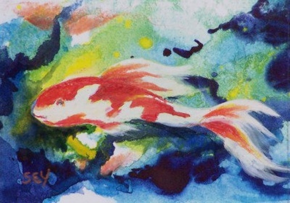 ACEO Original Painting - Mixed Media - Koi