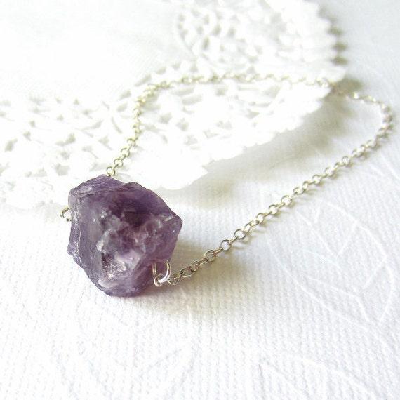 Purple amethyst raw nugget sterling necklace, bold, gemstone