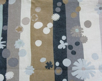 Vintage Fabric - gray black brown - Vintage Fabric with stripes dots flowers