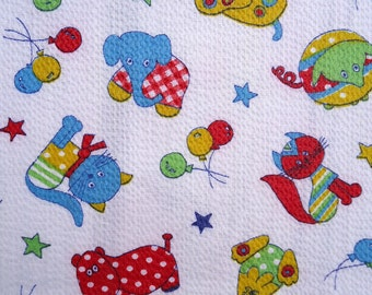vintage novelty print fabric - crazy cute little animals in polka dots and stripes - 60s