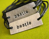 Custom Friendship bracelets - Set of 2 Stamped Metal Wrap Bracelets on Cotton Cord
