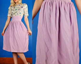 Lavender Vintage 40s 1940s High Waist Rayon Pin-up Skirt XS/S