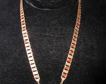 Art Deco Triangle Carnelian Necklace with Book Chain