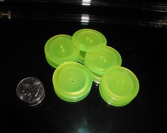 """6 Vintage 1960s Translucent Neon Lime Yellow Green Buttons 1 3/8"""""""