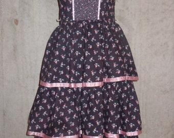 Vintage 70s Floral Sundress Dress Flounced Cotton Tiered Skirt Size Small Candi Jones