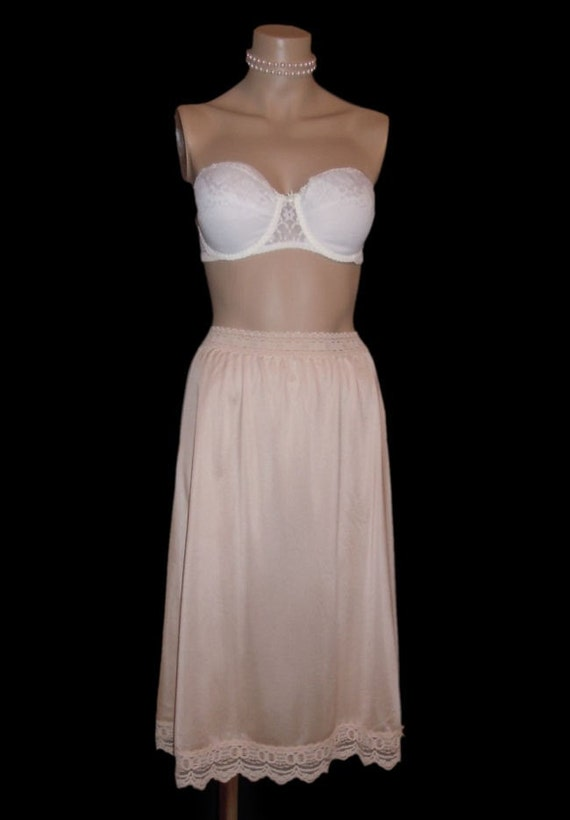 70s Olga Silky Nude Half Slip Secret Hug Beige Nylon Lingerie Size Small Medium Style 963
