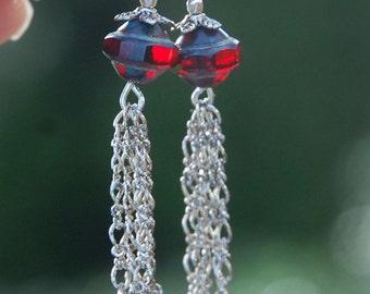 Red Tassel Earrings, fringe, silver, gift for her