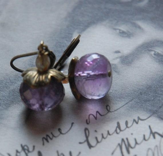 Purple Hyacinth  - fluorite earrings, lilac, vintage style, rustic, spring
