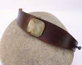 Brown Leather Cuff, Large Jade Green Stone Bead
