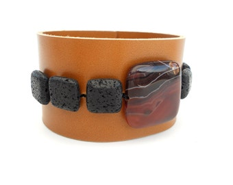 Caramel Leather Bracelet with Black Lava Stone Beads, Handmade Leather Jewelry, Women's Leather Accessories