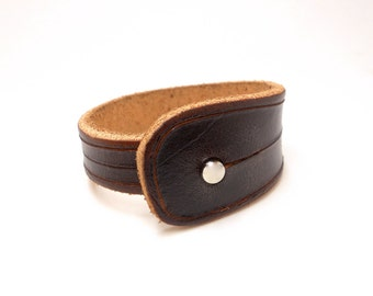 Unisex Leather Wristband, Chestnut Brown Leather Jewelry, Leather Accessories, Rawhide Leather