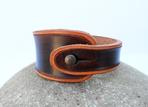 Hand Carved Leather Bracelet Wristband, Walnut Brown with Tan Trim, Leather Jewelry, Handmade Leather Accessorry