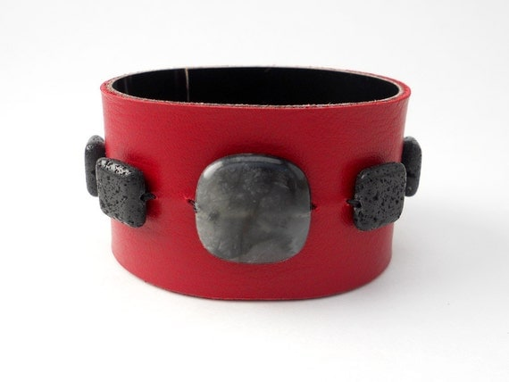Red Leather Cuff with Black Lava Stone Beads