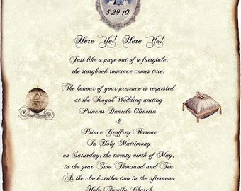 Sale - Save 28% - Silver FairyTale Castle Cinderella Wedding Scroll Invitations Theme qty 50 - Limited Time Only