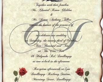 qty 50 Train Locomotive Wedding Invites, birthday, party, anniversary, bridal baby shower Invitations Scrolls