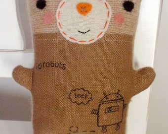 Tattooed Robot Lover Friendly - Stuffed Plush Handmade Needle Felted and Embroidered Art Friend by Val's Art Studio, Baby and child gift