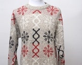Unisex Ski Sweater / Scandanavian Snow Pattern / Size Small Vintage
