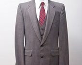 Men's Blazer and Vest / Sport Coat and Waistcoat / Brown Size 40L Vintage