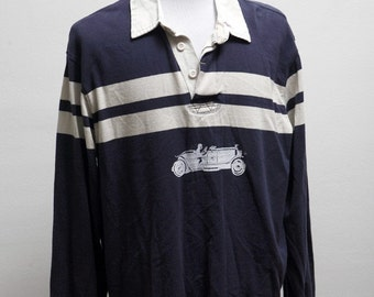 Men's Shirt / Upcycled Rugby Shirt / Screen Printed Vintage Race Car / Size Medium