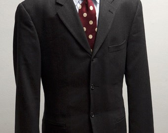 Men's Suit / Upcycled Vintage Grey Suit with Screen Printed Race Car / Size 44 Large