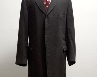 Men's Wool Overcoat / Vintage Dress Coat / Upcycled with Screen Printed Racer / Size 44