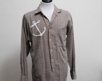 Men's Shirt / Vintage Upcycled Plaid Shirt with Screen Printed Anchor / Size Medium