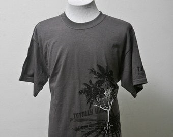 Men's T-Shirt / Upcycled Tee with Screen Printed Tree / Size Large