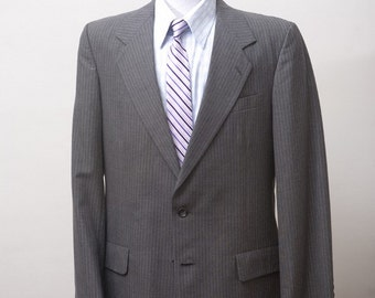 Men's Blazer / Vintage Pinstripe Jacket Upcycled with Screen Printed Anchor / Size 42 Long