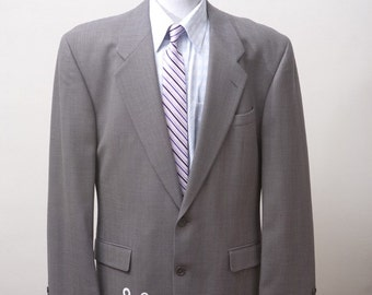 Men's Blazer / Upcycled Jacket with Screen Printed Anchor / Size 46 XL