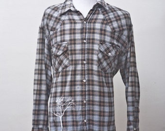 Men's Shirt / Upcycled Blue Plaid Shirt / Screen Printed Tree of Life / Size XXL