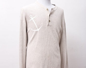 XL Upcycled Thermal Henley with Screen Printed Anchor