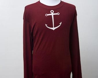 Men's Shirt / Upcycled Lightweight Spring Shirt / Screen Printed Anchor / Size XL