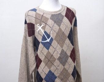 Men's Argyle Sweater / Nautical Anchor / Upcycled Vintage / Size XL