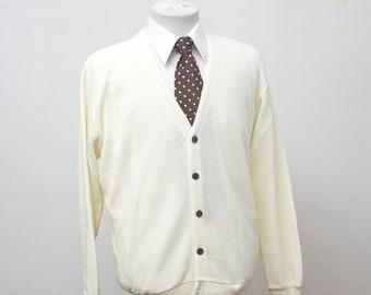 Men's Sweater / Vintage Pale Yellow Cardigan by Arrow /Size XL