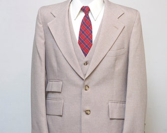 Men's Blazer and Suit Vest / Vintage Andre Martin Waistcoat and Jacket / Size 40 Medium