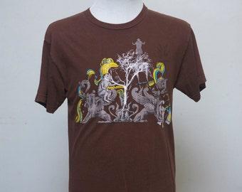 Medium Upcycled Tee Shirt with Screen Printed Tree