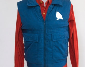 Men's Quilted Vest / Vintage Upcycled Winter Vest / Screen Printed Sparrow / Size Small