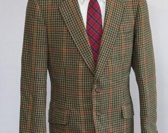 Men's Blazer / Vintage Plaid Wool Jacket / Green Houndstooth / Size 40/Medium