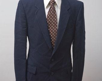 Men's Blue Suit / Vintage Pinstripe Blazer / Jacket and Trousers / Size 42/Large