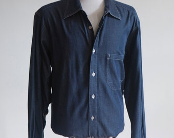 Men's Shirt / Blue Chambray Work Shirt / Size Large