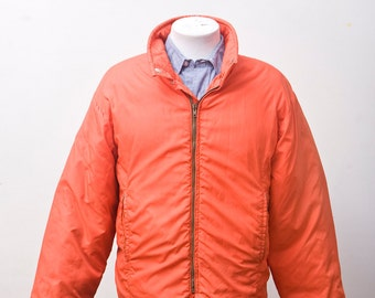 Men's Coat / Orange Vintage Winter Ski Jacket / Size Large